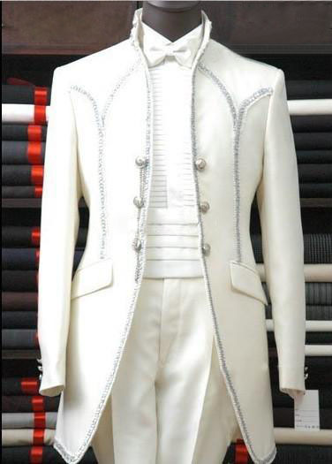 2014 Custom Made White Groom Tuxedos Groomsmen Men Wedding Suits Best man Suits (Jacket+Pants+Girdle+Tie)