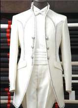 2015 Custom Made White Groom Tuxedos Groomsmen Men Wedding Suits Best man Suits (Jacket+Pants+Girdle+Tie)