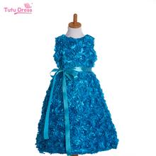 New Arrival Children Flower Birthday Dress Baby Girls Sleeveless Rosette Flower Formal Dress