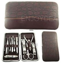 New Arrival Hot 12pcs Manicure Pedicure Set Nail Scissors Grooming Kit Little Cosmetic Bag Free Shipping(China (Mainland))