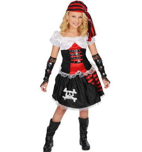 children's pirate costume for girls carnival costume pirate party supplies pirate clothing skull clothing halloween costumes(China (Mainland))