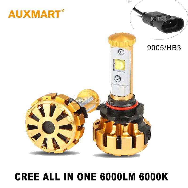Auxmart 9005/HB3 60W 6000LM LED Headlight 6000K Led Bulb ALL-in-One Auto Headlamp Fog Driving Head Light 12v 24v 4x4 4WD SUV ATV(China (Mainland))
