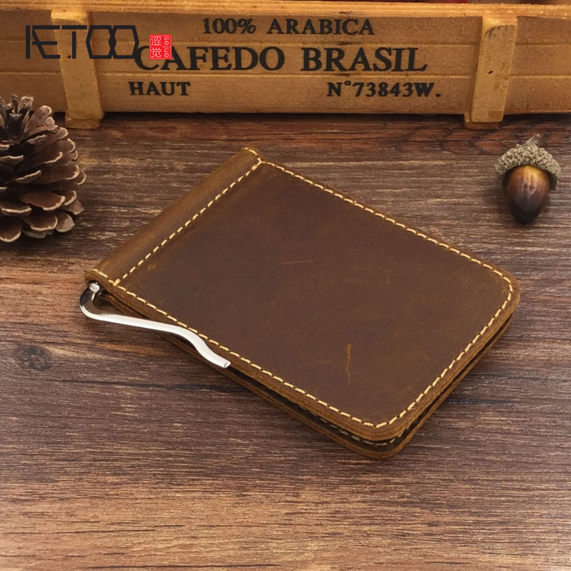 AETOOExplosion section of the original Crazy Horse Paper wallet first layer of leather leather wallet US money clip card package(China (Mainland))