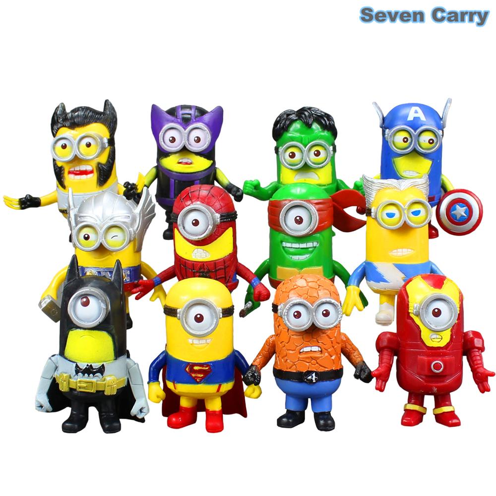 12pcs minion avengers minions superheroes thor hulk wolverine batman iron man the flash superman spiderman figures toy 8cm cssa2 batman superman iron man