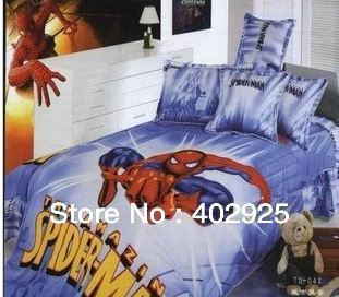 Free Shipping 100% cotton reactive print child 3 pcs bedding set  bedcover+ two pillowslip home textile spiderman bedding