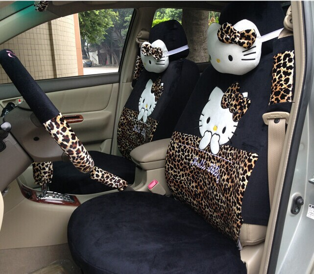 new arrival cute leopard hello kitty car seat covers sets front rear full set cartoon for baby. Black Bedroom Furniture Sets. Home Design Ideas