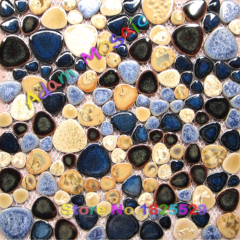 ocean blue pebble wall tile glazed porcelain mosaic shower wall subway coverings tiles kitchen floor(China (Mainland))