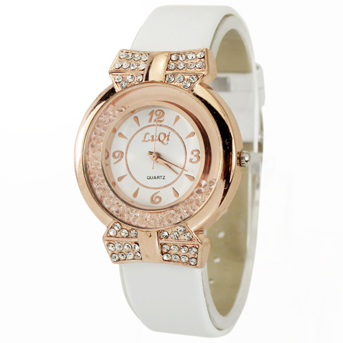 1PC Hot Sale White Women's Ladies Luxury Charming Stylish Crystal Diamond Gift Analog Quartz Hand Wrist Watches Clocks Hours(China (Mainland))