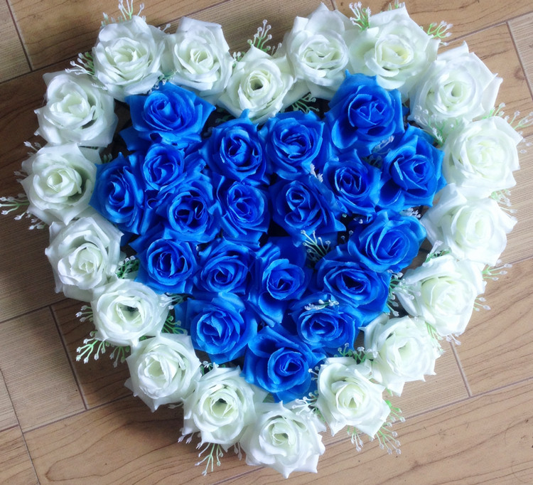 40x40cm Artificial Silk Rose Wedding Car Decoration Heart Shaped Door Wreaths Lovely Wedding Door Decoration Wholesale 14 colors(China (Mainland))