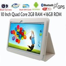 10 Inch Quad core Android4 4 Tablets pc 2GB 16GB WIFI Bluetooth FM 2 SIM Card