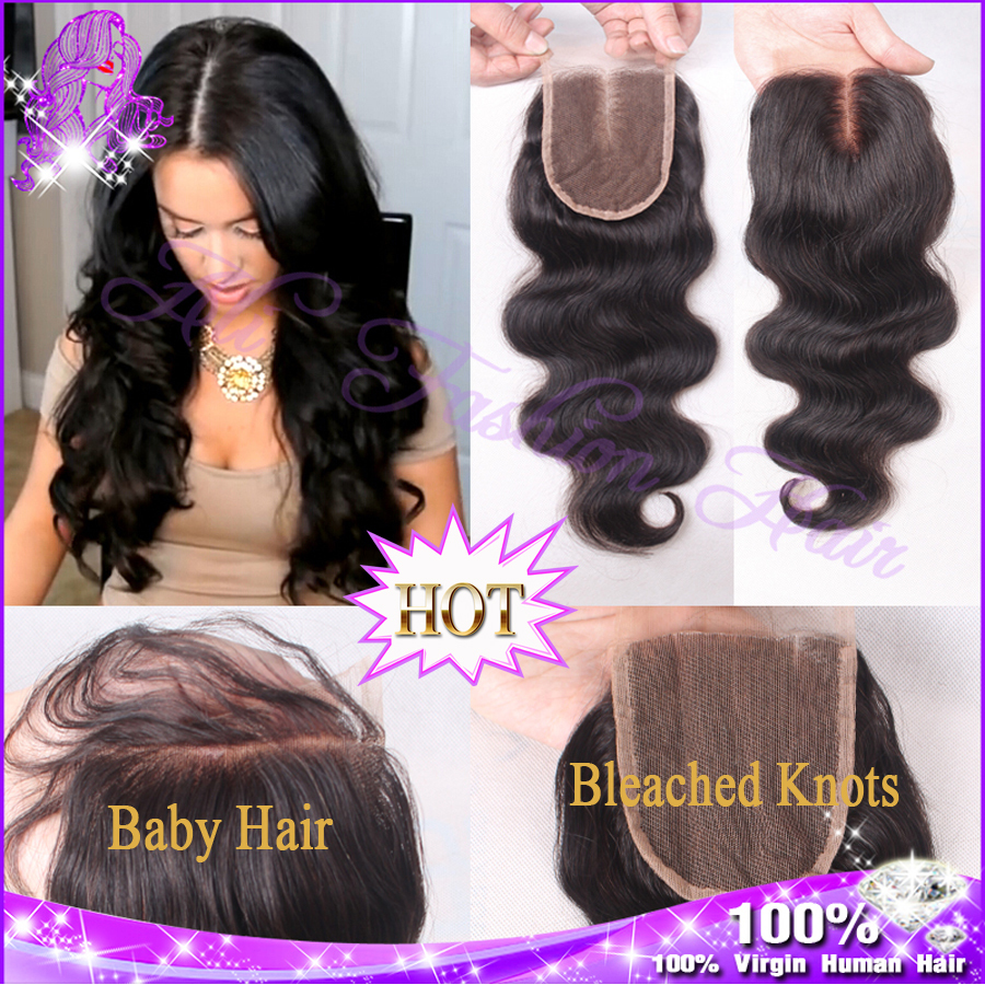 7A Cheap Brazilian Lace Closure Bleached knots Virgin Human Hair Closures 4x4 Body Wave Lace Closure Free Middle 3 Part CLosure(China (Mainland))