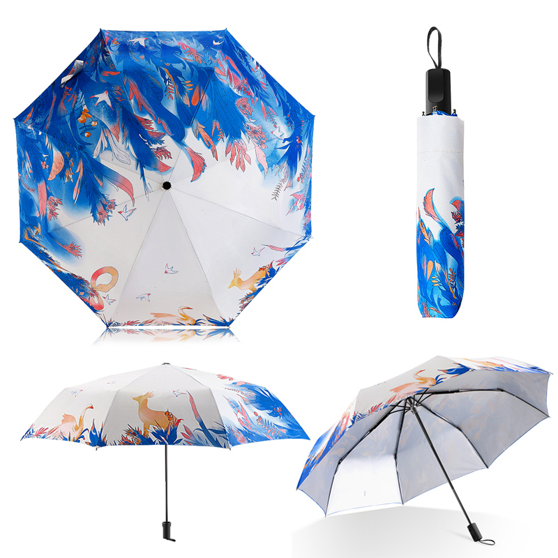 Fashion Illustration Cute Fruit Cat Rain Sun Umbrella 3 Folding 8 Rib Wind  Resistant Frame Ultraviolet-proof Umbrellas For Women - us553 61046af2b4049