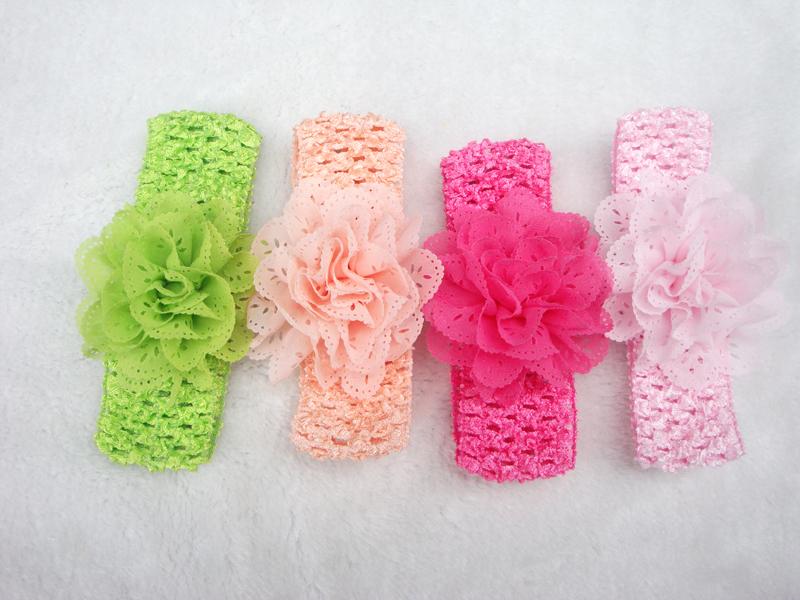 Promotion 10pcs/lot Chiffon Lace Flower Crochet Headband Baby Girls Dress Up Head band 11 color(China (Mainland))