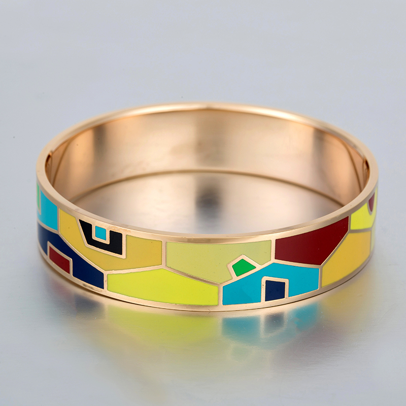 Top Quality Hot Selling 16MM Wide Big Stainless Steel Enamel Bangle Bracelet Gold Plated for Women Lady Men 2017 Luxury Design(China (Mainland))