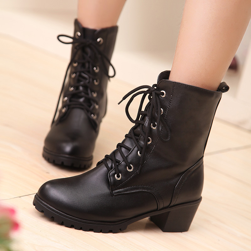 Free shipping new fashion soft PU leather short autumn boot lace heels 5 cm non-slip waterproof women boots top size 40<br><br>Aliexpress