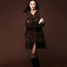 Brand new 2016 natural real knitted mink fur coat women Fashion Lady Genuine Knit Long Jackets Winter Real Furs Hooded Outerwear(China (Mainland))