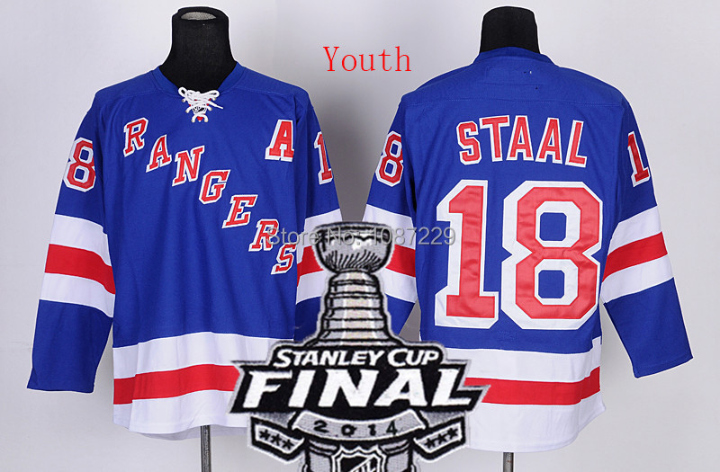 Youth #18 Marc Staal blue Ice Hockey Jerseys 2014 Stanley Cup Finals Patch New York Rangers Cheap Embroidery logos - World Co. Ltd store