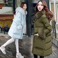 Woman Winter Coat Made Of Goose Feather 2016 2XL Plus Size Long Cotton Parkas Fur Colloar