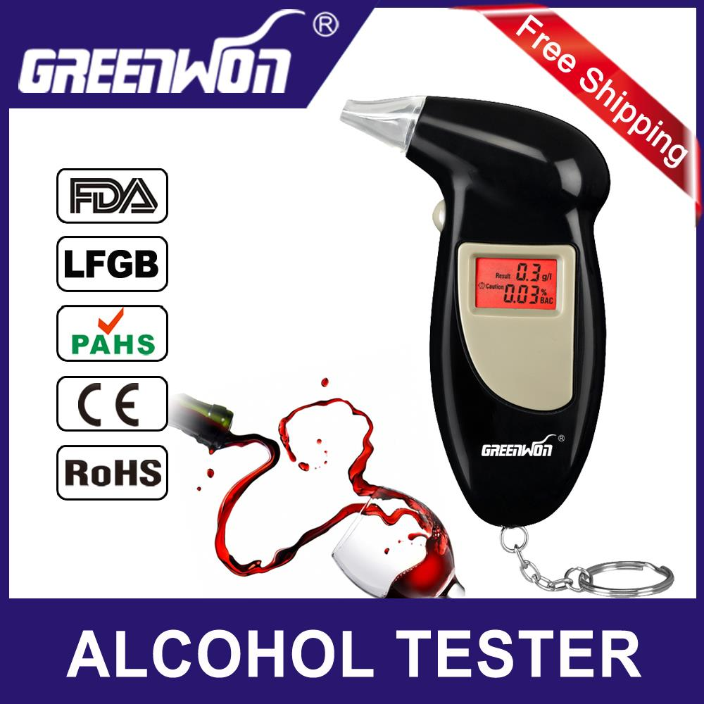 2015 NEW Hot Professional Police Digital Breath Alcohol Tester Portable Breathalyzer Detector Dual LCD Display Free