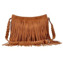 Fashion New Popular Shoulder Bag Vintage Tassel Cross Decorated Women Messenger Bags Popular Women  Handbag Free Shipping