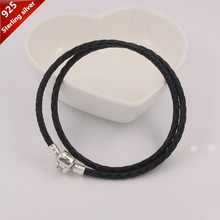 star fave jewelry 925 sterling silver clip clasp necklace (black 12-A) Genuine leather charms chain suitable for pandora beads(China (Mainland))