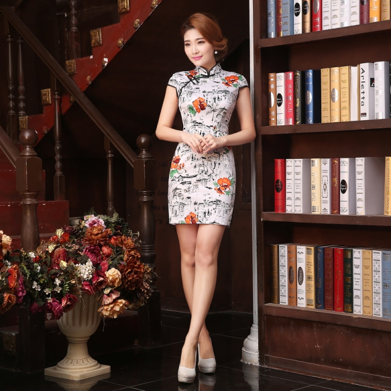 Chinese Women Poetic Qipao cotton Mini Cheongsam Party Evening Dress Print Flower Vintage Design qi pao TZM-45062(China (Mainland))