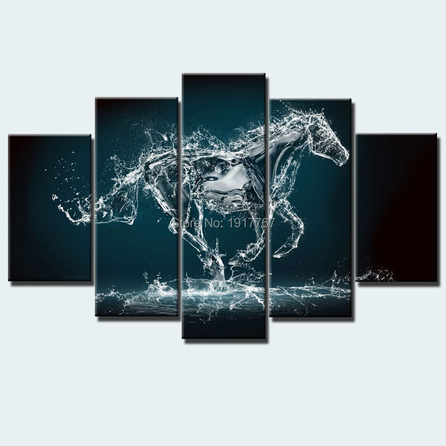 new design ideas modern home decor art painting horse picture 5 pieces canvas art prints picture - Canvas Design Ideas