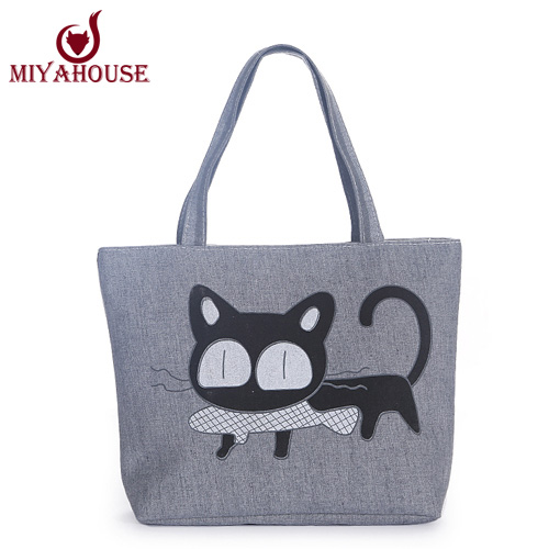 Cute Cat Ear Fish Canvas Handbag Single Shoulder Handbag Black Cat Canvas Beach Bag Woven Shoulder Handbags Women Canvas Tote(China (Mainland))