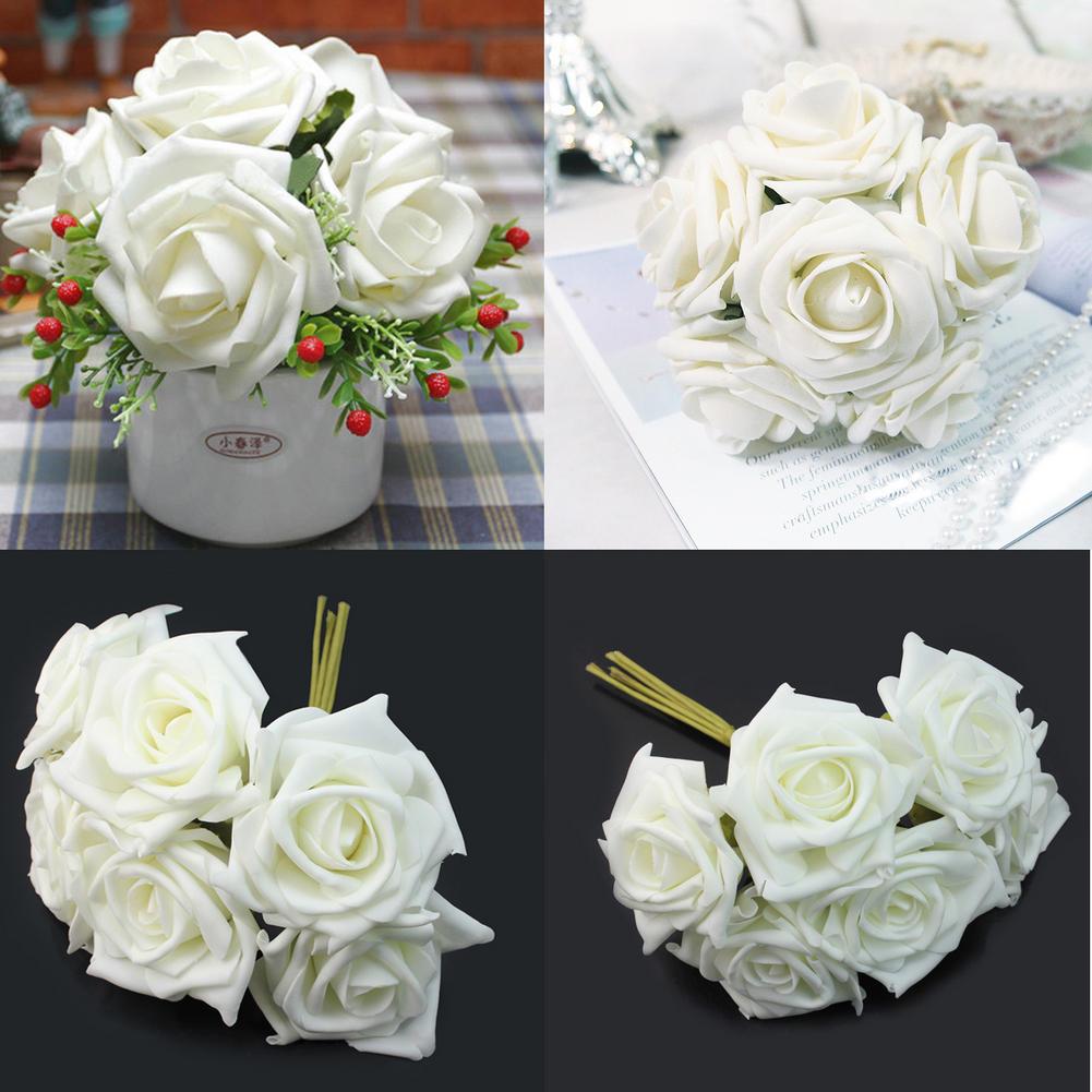 Artificial Rose Bouquet Wreaths White Ivory Foam Bulk Flowers Wedding
