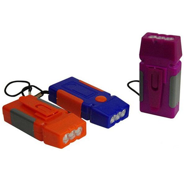 3LED plastic flashlight portable outdoor square 3LED mini flashlight without batteries color random(China (Mainland))