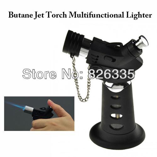 Portable Black Windproof Cigarette Lighter Butane Jet Torch Gas Flame XS-0901 Free Shipping(China (Mainland))