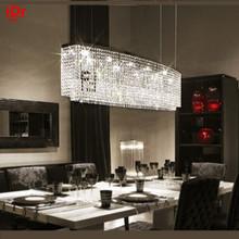 LED rectangular crystal chandelier high quality European-style living room lamp study lamp restaurant lamp creative bar(China (Mainland))