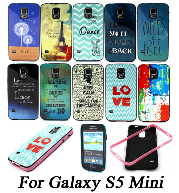 New Design Bumper + Case 2 IN 1 Fashion Painting Cover For Samsung Galaxy S5 Mini G800 Phone Protective Bag Capa(China (Mainland))