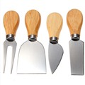 1 Set 4pcs Knives Bard Set Oak Handle Cheese Knife Kit Kitchen Cooking Tools Useful Accessories