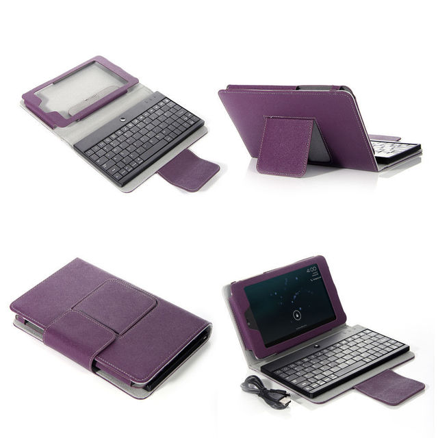 Purple Leather Stand Case Cover Detachable Bluetooth Keyboard For Google NEXUS 7 7inch Tablet PC