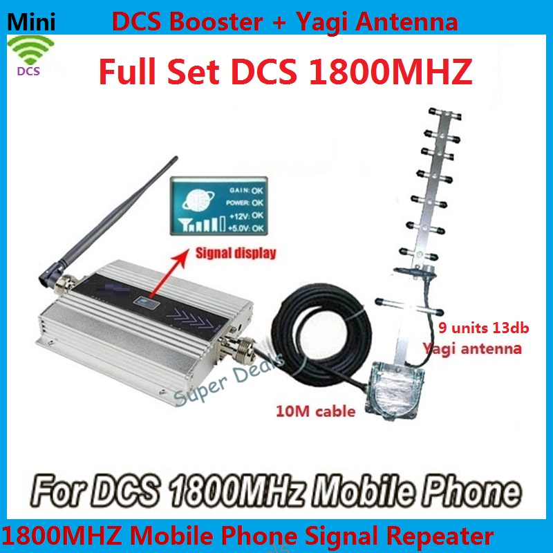 LCD Display !!! Newest Mini 4G LTE DCS 1800Mhz Mobile Phone Signal Booster , DCS Signal Repeater Amplifier + Yagi Antenna Cable(China (Mainland))