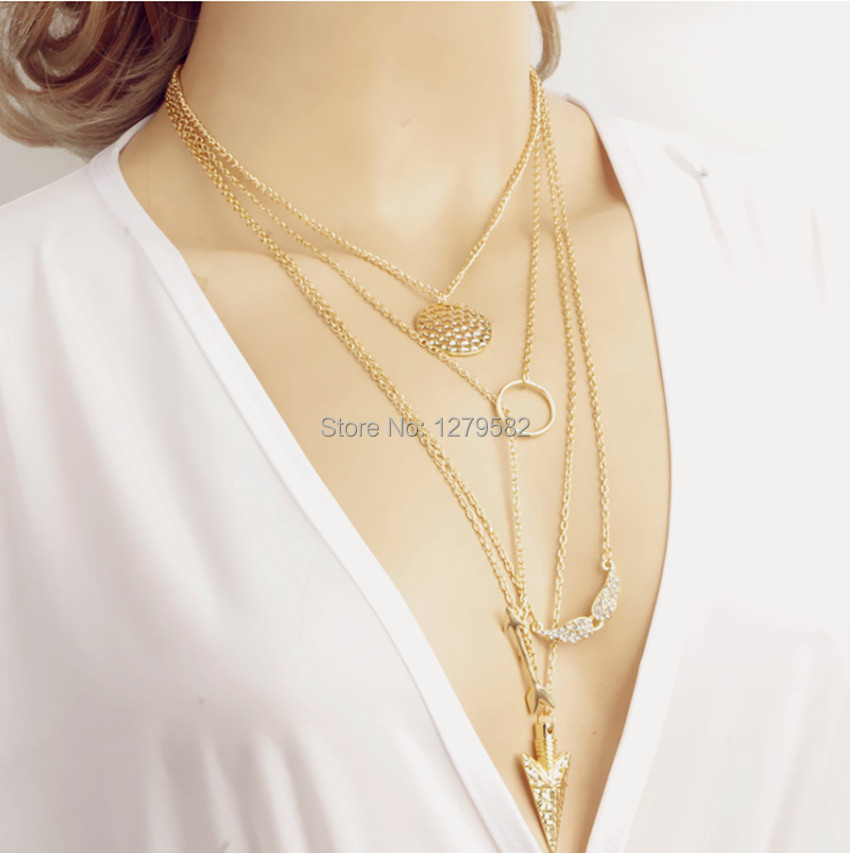 Gold Long Necklace Online Multi Layer Necklace Gold Long