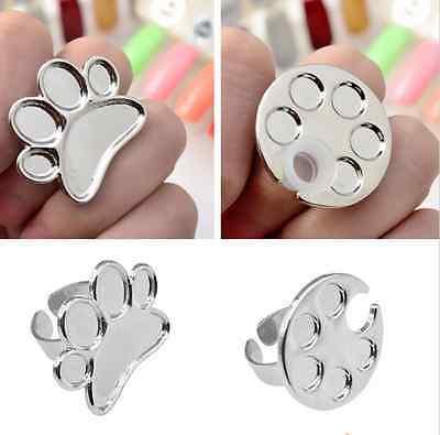 1x Mini Nail Art Finger Ring Palette Manicure Mixing Acrylic Paint Thumb Ring UK