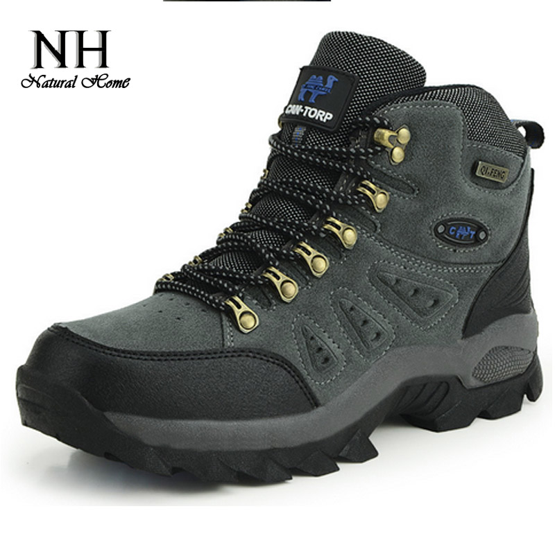 Гаджет  Men Women Brand Waterproof Athletic Rubber Genuine Leather High-Top Lace-Up Outdoor Trekking Hunting Hiking Shoes Boots  None Спорт и развлечения