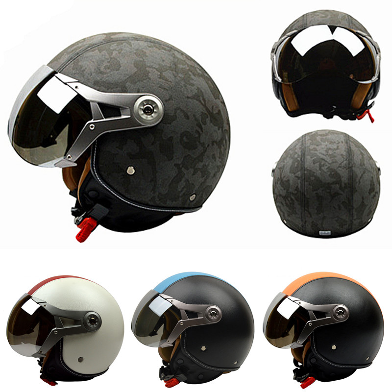2016 New Arrival High Quality Leather Vintage Men and Women Universal Motorcycle Protective Motor Electrombile Half Helmets(China (Mainland))