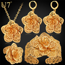 U7 Vintage Exquisite Flower Jewelry Set Platinum/Yellow Gold Plated Classic Wedding Bridal Jewelry Set For Women Gift S563(China (Mainland))