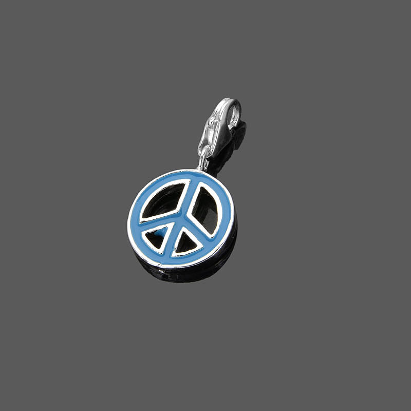 Free shipping Wholesale silver thomas factory pendants Super deal Blue peace charms hot deals ts tms rebel at heart karma charm(China (Mainland))