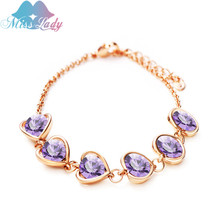Valentine's Day gift 18K Rose Gold Plated Crystal Luxury heart love Cuff Bracelets Wholesales Fashion Jewelry for women MLM5351B(China (Mainland))