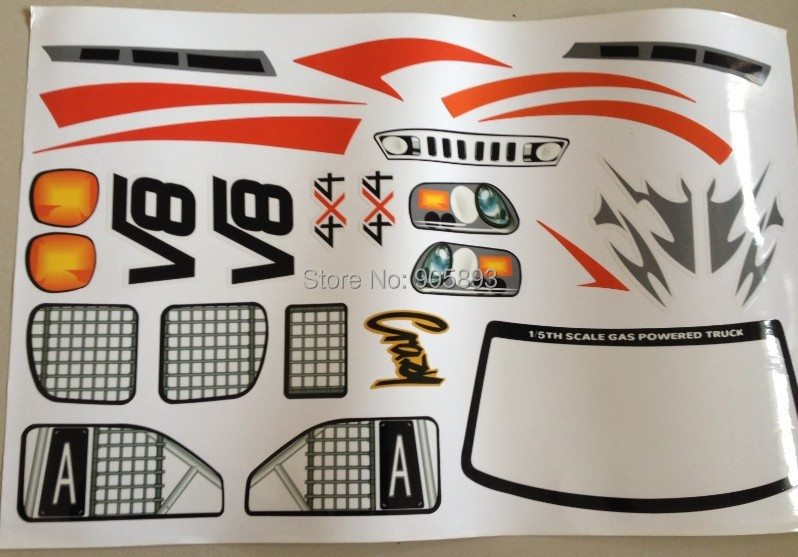 The decal/sticker sheet for 1/5 scale 4x4 Big Monster Truck.(China (Mainland))