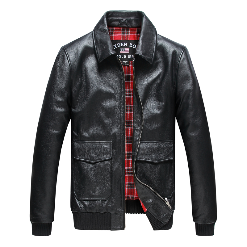 Factory 2016 New Men's Genuine Leather Jacket black cowskin simple style classic Motorcycle Biker jacket Pilot Coats(China (Mainland))