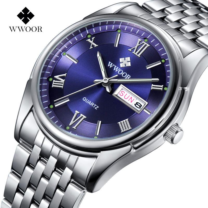 Top Brand Men's Business Watches Date Day Stainless Steel Relojes Luminous Clock Men Casual Quartz Watch Sports Wrist Watch