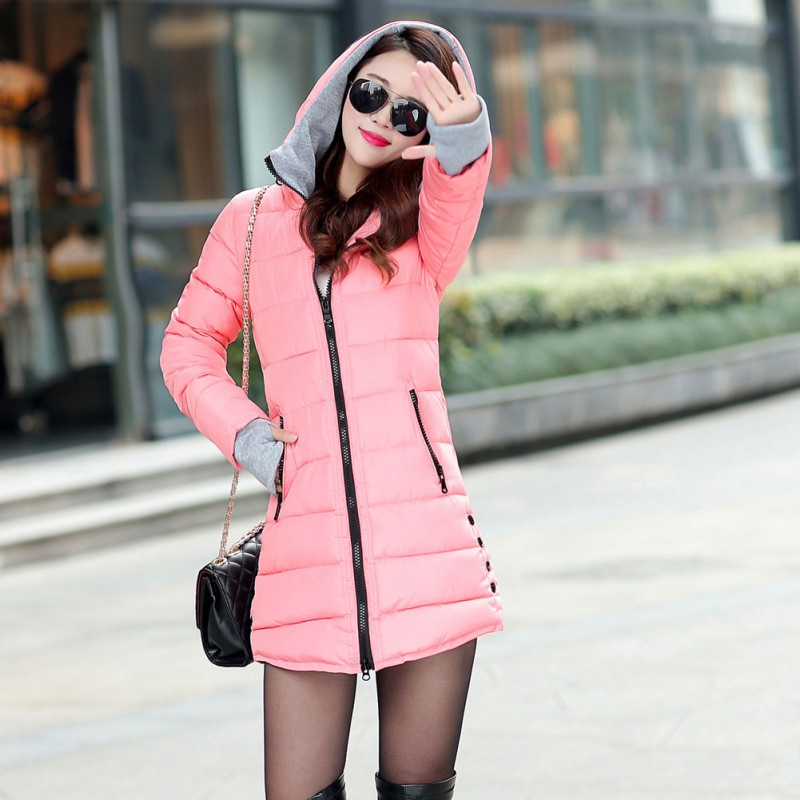 Female Medium-long Outerwear Winter Women Hooded Warm Coat Slim Cotton Padded Basic Jacket Candy Color