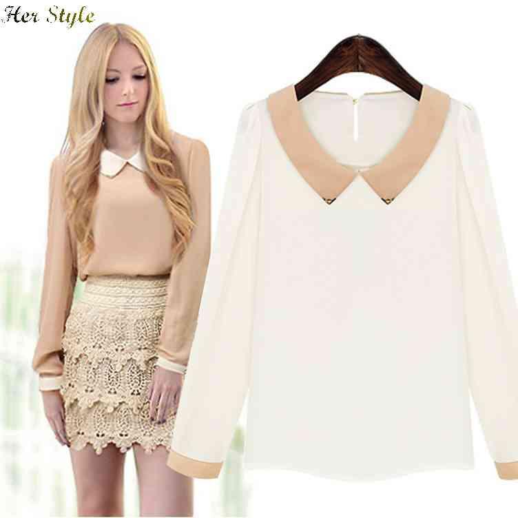 Free Shipping new 2015 spring Couture doll collar chiffon long sleeve bottoming shirt Jersey solidcolor Joker womens jacket 1426(China (Mainland))