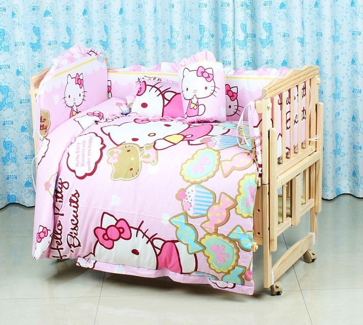 Фотография Promotion! 10PCS Hello Kitty baby bedding quilt pillow set in a cribs for babies cot bumper (bumper+pillow+matress+duvet)