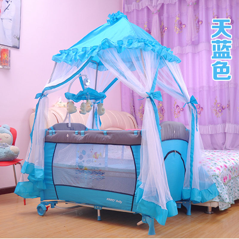 Baby's Folding Bed : ... folding-baby-bed-portable-game-child-bed-send-big-mosquito-net-baby